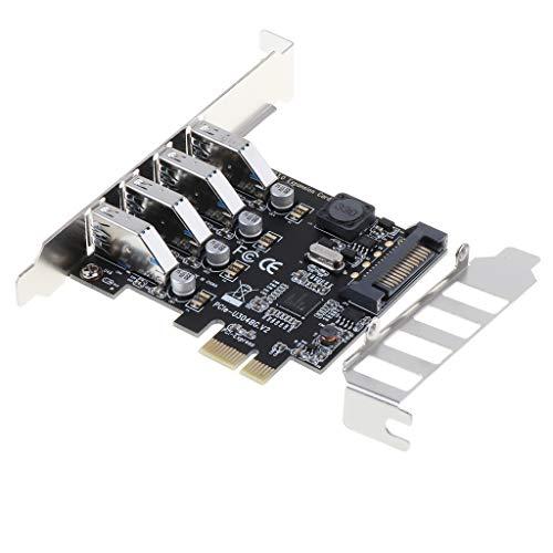 B Blesiya Convertidor Adaptador de Tarjeta de Expansión de Concentrador PCI-E PCI a USB 3.0 de 4 Puertos