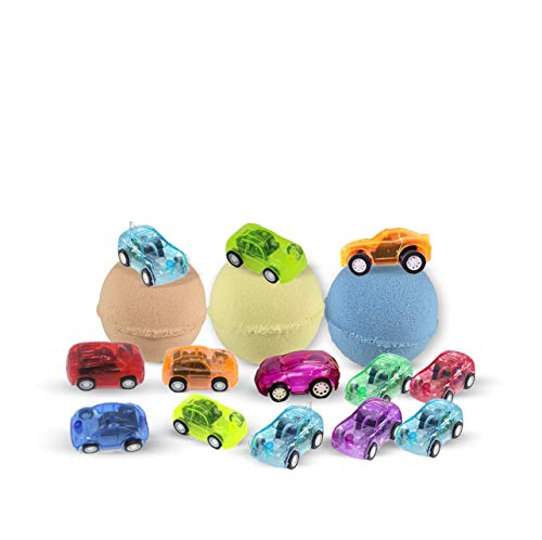 3 Bath Bombs for Kids with Toys Inside - Surprise Cars for Boys and Girls - Best Gift Set on Christmas