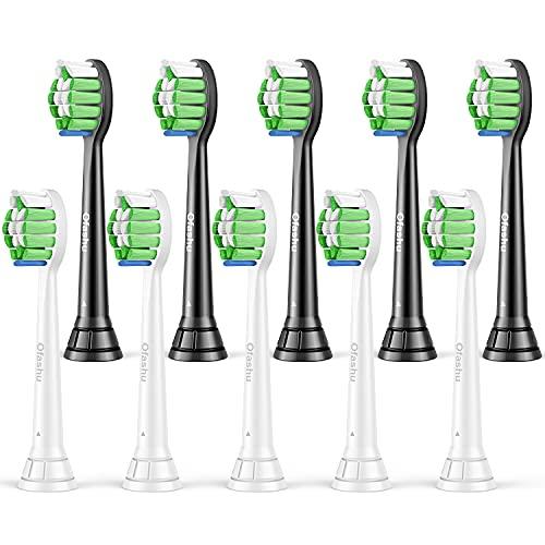 Aufsteckbürsten Kompatibel mit Philips Sonicare Zahnbürstenaufsatz: Schallzahnbürste Ersatzzahnbürsten für Phillips Sonicare Diamond Clean ProtectiveClean 5er Weiß und 5er Schwarz