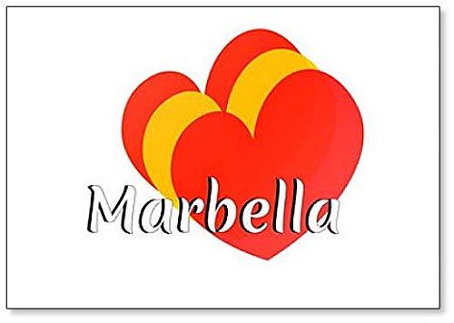 Kühlschrankmagnet in Herzform mit Farben der Nationalflagge Spaniens mit Inschrift: Marbella
