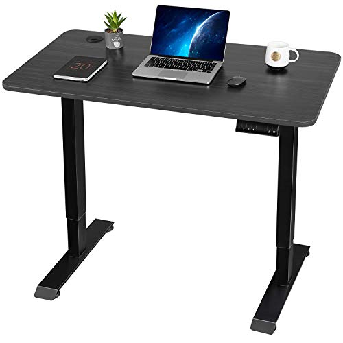 Furmax Electric Standing Desk Height Adjustable Desk Sit Stand Home Office Desk Ergonomic Computer Workstation with Preset Height Memory Controller Solid Wood Table Top (Black)
