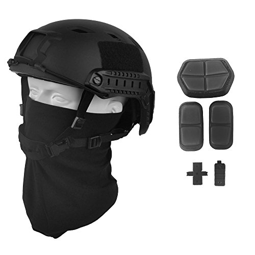 LOOGU Fast BJ Base Jump Military Helmet with 12-in-1 Headwear (BK)