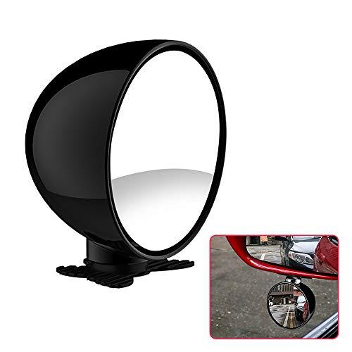 Biqing 70mm Espejo Auxiliar Coche,Universal Redondo Espejo Retrovisor de Coche de Cristal HD Espejo de Angular Ajustable de 360° (Negro)