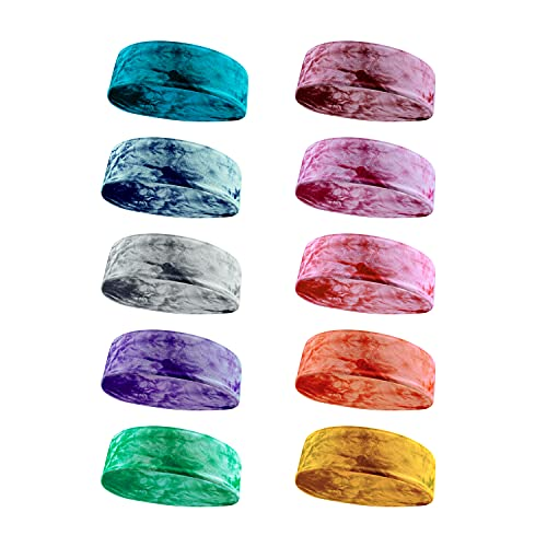 DoGeek Diadema Deportiva 10 piezas Diadema Yoga Estiramiento Elástico Cintas de Pelo Yoga Diademas de Algodón para Adolescentes, Niñas y Mujeres