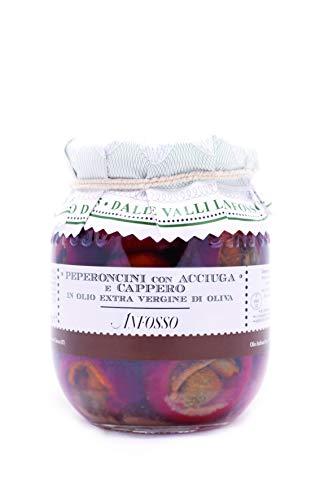 Olio Anfosso Peperoncini con Acciuga e Capperi in Olio Extra Vergine di Oliva 280 Gr
