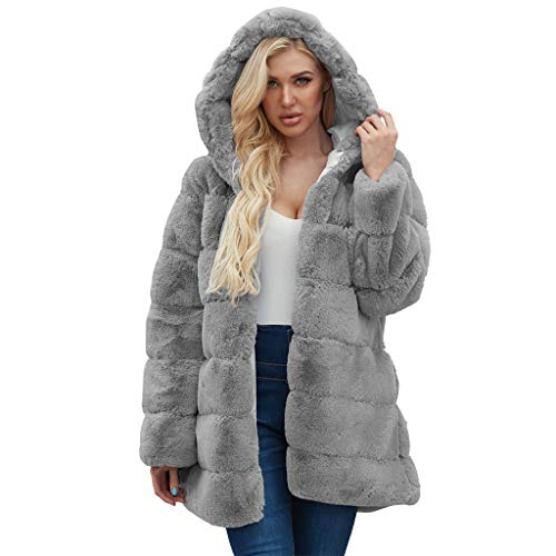 Lialbert Kunstpelz Mantel Lang Damen Kunstfell Mantel mit Kapuze, Faux Pelz Mäntel Pelzmantel Felljacke Warme Plüschmantel Lose Teddyfell Parka Elegant Luxus Overcoat Winter Hooded