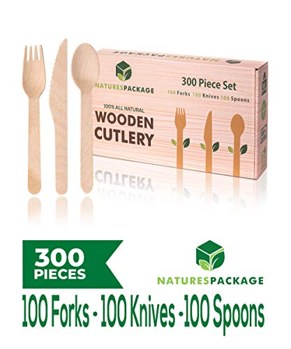 Wegwerp Houten Bestek Set 300 stks Biologisch afbreekbaar Hout Milieuvriendelijk 100 Vorken 100 Messen 100 Lepels