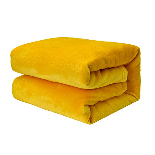 EHC Super Soft Fluffy Snugly Solid Flannel Fleece Throws for Sofa Bed Blankets, Yellow 125 cm x 150 cm