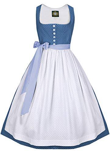 Hammerschmid Damen Trachten-Mode Langes Dirndl Pillersee in Blau, Größe:40, Farbe:Blau