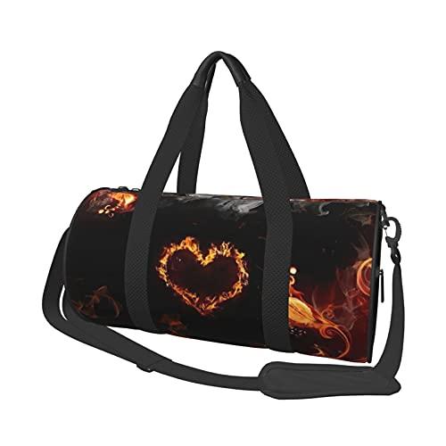 MBNGDDS 3D Feuerblumen und Herz Reise Duffel Bag Leicht Faltbar Wasserdicht Weekender Tasche mit Schultergurt Sport Gym Bag für Damen & Herren, siehe abbildung, Einheitsgröße,