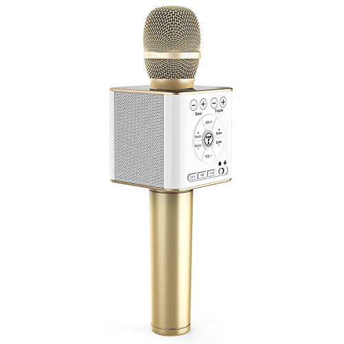 TOSING 04 micrófonos karaoke bluetooth,microfono inalámbricos portátil portátil 3 en 1 Máquina de altavoces cumpleaños de fiesta de regalo de año nuevo para Android/PC (Oro)