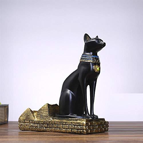 SKHF Estatua De Escultura Estatuas Resina Gato Egipcio Soporte para Botella De Vino Figuras Animales Simples Estante para Vino Accesorios De Decoración del Hogar Regalo-Negro