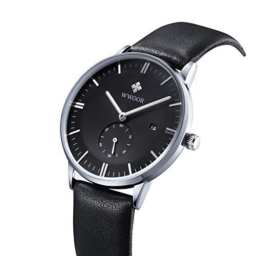 Dilwe Reloj para Hombre Reloj Casual para Hombre a Prueba de Agua con Correa de Cuero de PU y Esfera Redonda para Regalo de Novio