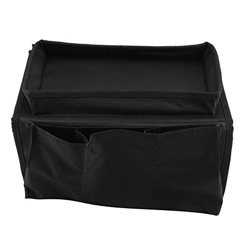 Raguso Bolsa de almacenamiento para sofá, mesita de noche, sofá, reposabrazos, bolsa de almacenamiento, libros, ideal para ordenar revistas, alta calidad (negro)