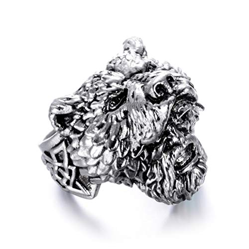 Feinny Norse Mythology Celtic Bear Ring, Mens Vintage Fashion Stainless Steel Viking Pirate Amulet Handmade Jewelry Hip Hop Rock Band Ring for Teen,Silver,9