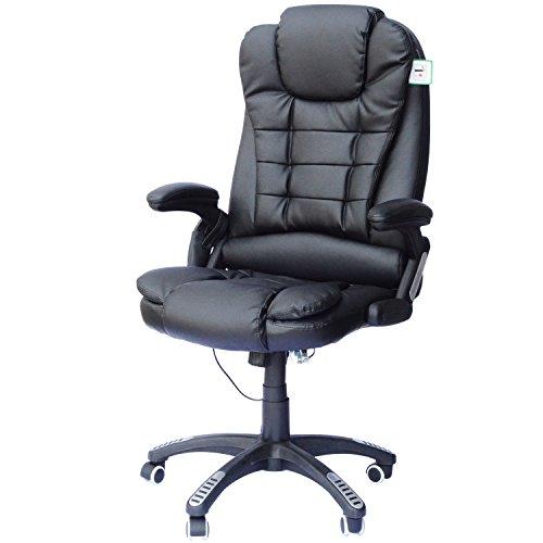 HOMCOM Bürosessel Bürostuhl Chefsessel Gamingsessel Massagesessel 6 Punkt Vibrations Massage mit Wärmefunktion drehbar (Schwarz)