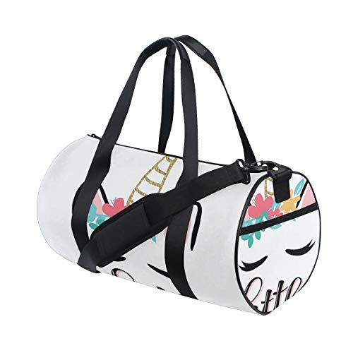 PONIKUCY Sporttasche Reisetasche,Kleine Prinzessin Zitat mit Buntem Einhorn Umriss Fantastic Girly,Schultergurt Handgepäck für Übernachtung Reisen