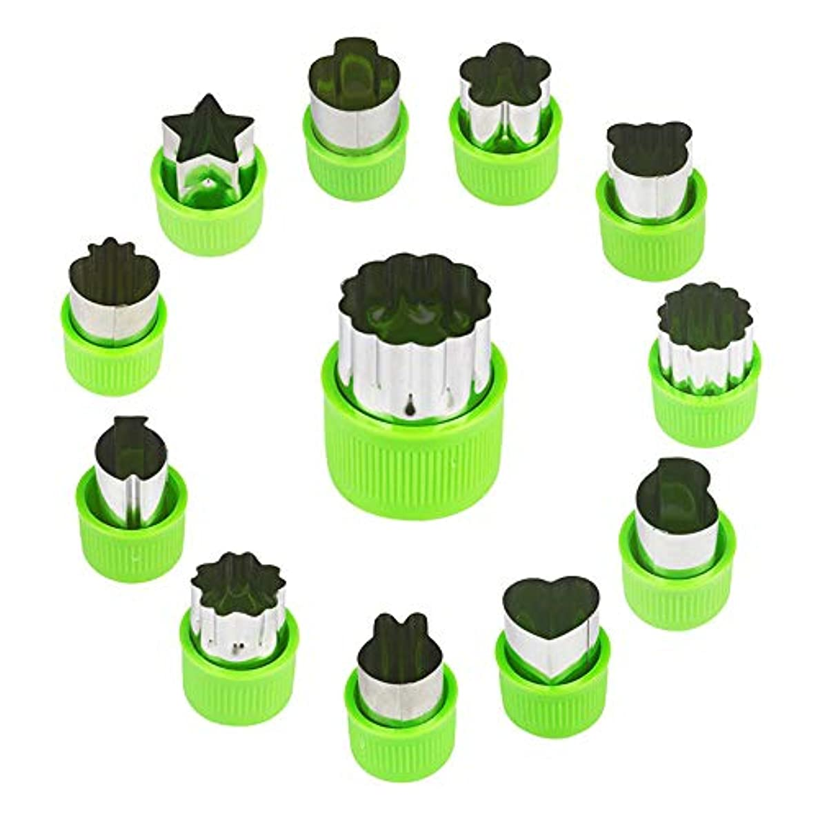 12Pcs Vegetable Cutters Set Fruit Cookie Cutter Stamps Mold Stainless Steel Sandwiches Cutter Shapes Set, for Kids Baking, DIY Fun Food Decoration, Green