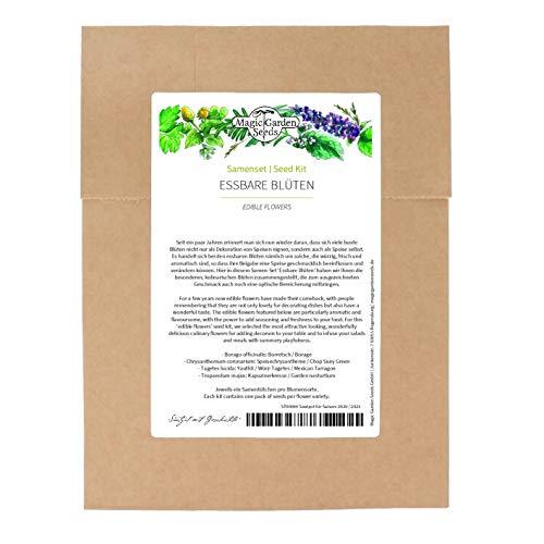 Fiori commestibili - set di semi con 4 varietà aromatiche per decorare e aromatizzare insalate, piatti freddi e dessert