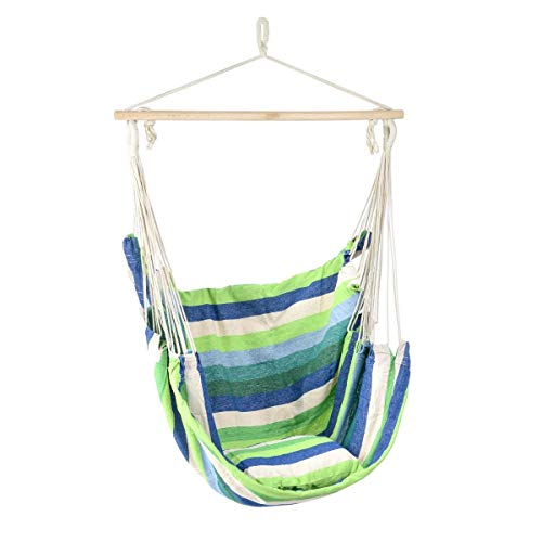CHRISTOW Garden Hammock Chair, Outdoor Hanging Tree Seat With Cushion, Cotton Canvas, Lightweight Portable, Colour Stripe