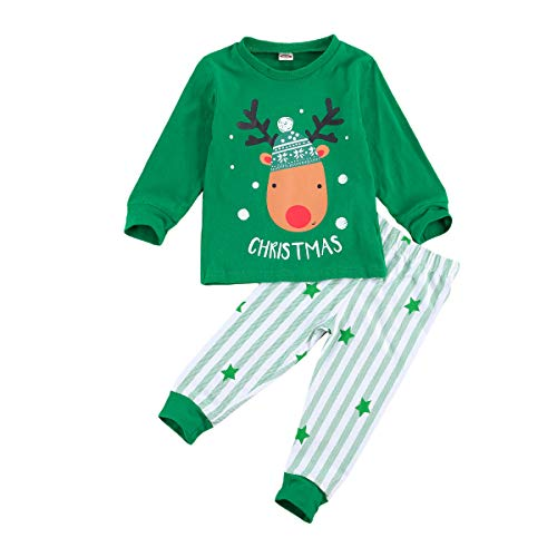 Toddler Infant Baby Girl Boy Christmas Clothes Long Sleeve T-Shirt Top Plaid Pants Striped Leggings 2Pcs Outfit Set (Striped-Green elk,2-3T)
