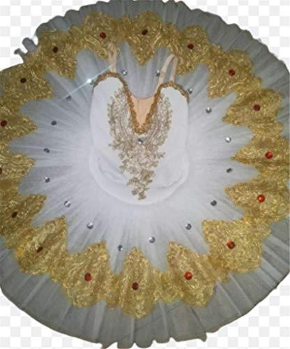 ZYLL Profesional de Ballet Ballet Tuts para nias Nio Lago de los cisnes Vestido de la Danza de la Bailarina Ropa Pancake Figura Vestido de Patinaje,Blanco,110CM