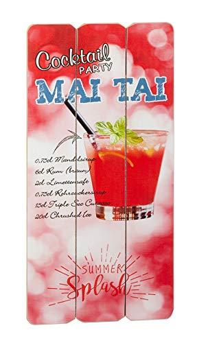 TrendLineMix Deko Schild Bild Cocktail Getränke Rezept Mai Tai Höhe 60 cm Rezeptschild Longdrink Beach Karibik Tropical Sommer Vintage Schabby Wandschild Mitbringsel Geschenkartikel
