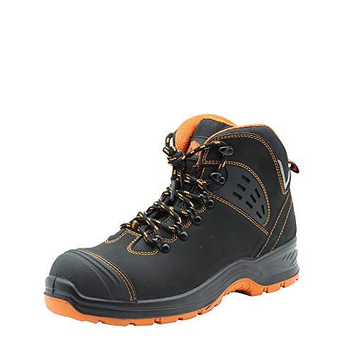 Botas de trabajo para hombre KAM-LITE, zapatos de seguridad impermeables con punta de acero S3 SRC, botas de seguridad industriales y de construcción, negro, 39 EU
