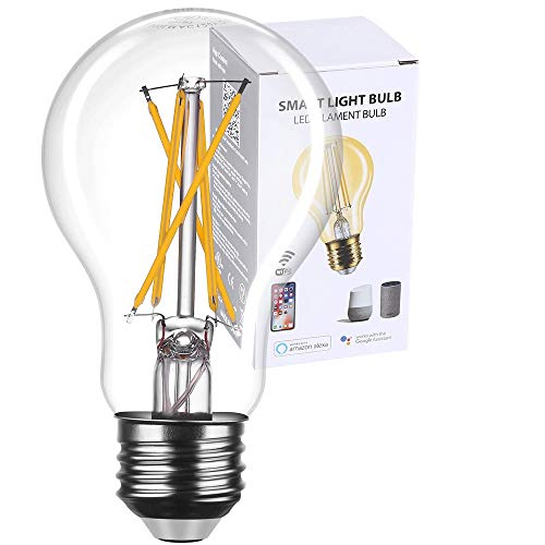 Smart Light Bulb Edison Works with Alexa and Google Assistant, Smart WiFi LED Bulbs Vintage Smart Bulbs No Hub Required, Dimmable Voice Command Control App Remote Control A19 A60 Clear Glass (1 Pack)