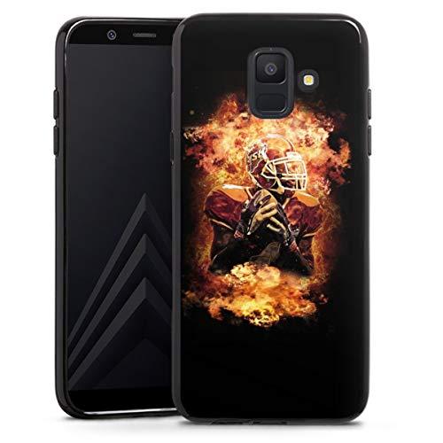 DeinDesign Silikon Hülle kompatibel mit Samsung Galaxy A6 (2018) Case schwarz Handyhülle Sport American Football Feuer