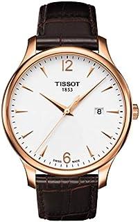 ساعة تيسوت صناعة سويسرية للرجال تراديشين مينا فضي بسوار جلدي - T0636103603700