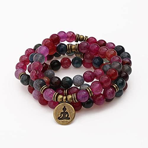 DALIU Turmalina Onyx Stone Beads Strand Charm Yoga Pulsera Collar Hecho a Mano 108 Cuentas Pulsera para Mujeres Hombres