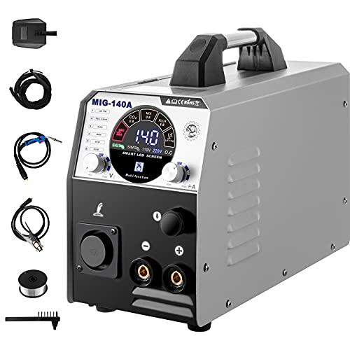 VEVOR MIG Soldador Inversor 140A 220V Máquina de Soldadura Inverter IGBT 6 en 1 Núcleo de Flujo/Alambre Sólido Soldador Inverter TIG MIG con Fuente de Alimentación CC para Soldar Trabajos Eléc
