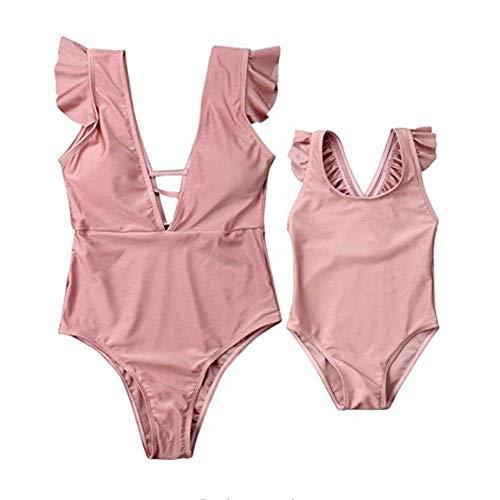 Wide.ling Mama und ich passender einteiliger Badeanzug Rüschen rückenfreie Bikini Mutter Tochter Badeanzug Familie Badebekleidung (Mutter, XL)