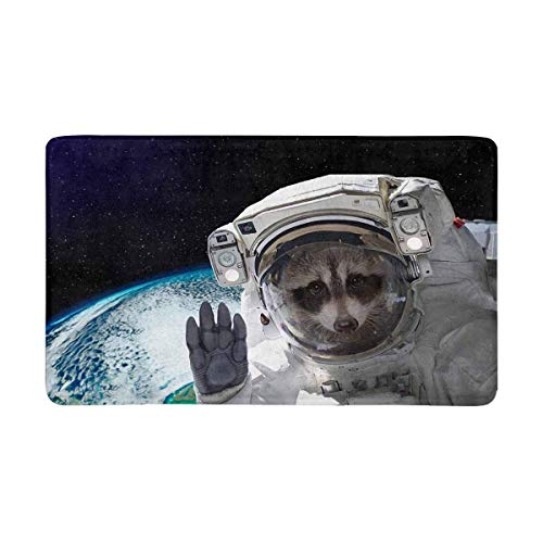 Kanaite lustiger Waschbär-Astronaut in der Raum-Fußmatte rutschfeste Innen- und Außentür-Matten-Wolldecke-Ausgangsdekor, Eingangs-Wolldecke-Fußmatten-Gummirücken,