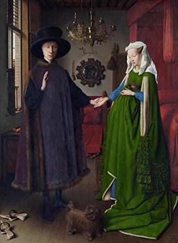 Pozino Cuadros Decorativos Pintura Famosa Van Eyck Arnolfini Retrato de Boda Lienzo Pintura Cartel impresión Pared Arte Imagen 60x90cm