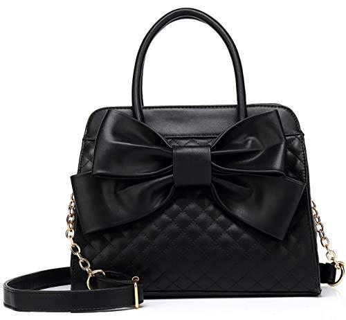 Scarleton Quilted Bow Satchel Handbag for Women, Shoulder Bag, Purses for women, Vegan Leather Crossbody Bag, Tote Purse, H1048
