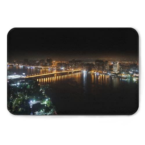 rutschfeste Teppichmatten mit Rutschfester,Aerial View of nile River and Bridge Cairo Egypt,Gummi-Teppich für Schlafzimmer Moderne Dekoration Freizeit-Yoga 16*24in