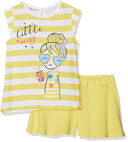 Brums Completo 2 Pezzi Canotta+Shorts Jersey Completino, Multicolore (Bianco/Giallo 01 909), 122 (Taglia Produttore:7A) (Pacco da 2) Bambina