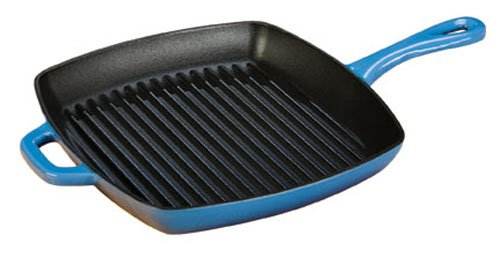 Lodge ECSGP33 Enameled Cast Iron Square Grill Pan, 10-inch, Caribbean Blue