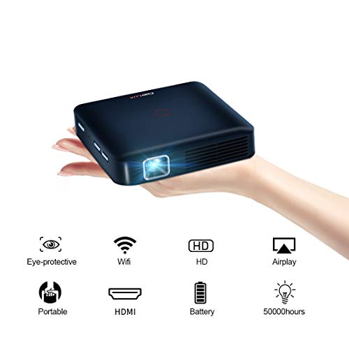 Funcilit Portable DLP Video Projector, Rechargeable Pocket Mini Pico Projector Supports 1080p and HD (Black)