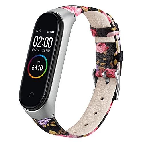 ZHIENG Correa Compatible con Xiaomi Mi Band 4 Xiaomi Mi Band 3,Cuero Pulseras de Repuesto Piel Banda para Xiaomi Mi Smart Band 4 Hombres y Mujer(No Host)(Flor Rosa)