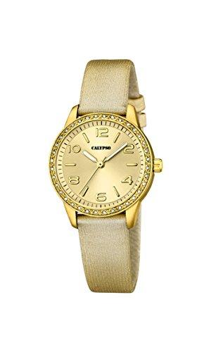 Calypso–Reloj de Cuarzo para Mujer con Correa de Piel de Oro Esfera analógica Pantalla y Dorado K5652/2