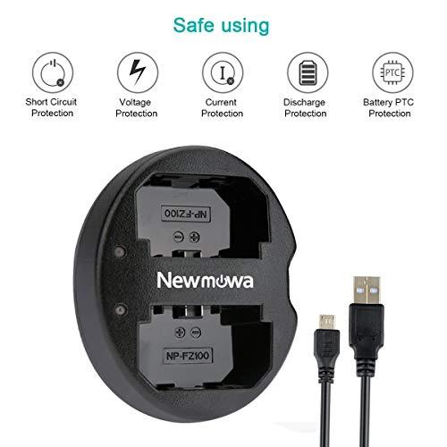 Newmowa Dual USB Charger for Sony NP-FZ100, BC-QZ1 and Sony a6600, Alpha 9, Sony A9, Sony Alpha 9R, Sony A9R, Sony Alpha 9S, Sony A7RIII, A7R3, Sony a7 III, Sony a7R IV Digital Camera