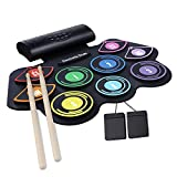 Electronic Drum Set,Built-in Speaker,9 Pads Stereo Electronic Drum Kit, Portable Roll up Drum Pad,USB/Battery Charge for Beginners
