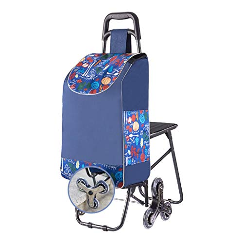 Shopping Trolleys Shopping Cart Hand Truck Super Loading 40kg Folding With Seat Elderly People Can Sit On Trolley (Color : Blue, Size : 32 * 50 * 94cm)