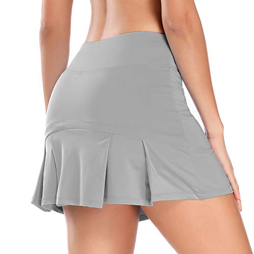 Women Pleated Active Athletic Skorts with Hidden Pocket Tennis Golf Fitness Skirts Built in Shorts (Grey, Small)
