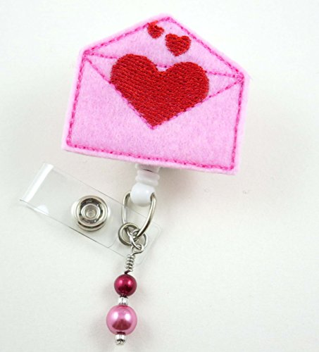 Valentine Heart Envelope - Nurse Badge Reel - Retractable ID Badge Holder - Nurse Badge - Badge Clip - Badge Reels - Pediatric - RN - Name Badge Holder