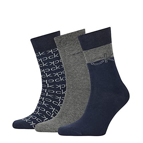 Calvin Klein Multi-Logo Men's Crew Socks Gift Box 3 Pack Calcetines clásicos, Gabán, Talla única para Hombre