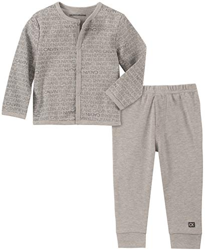 Calvin Klein Baby Boys 2 Pieces Cardigan Pants Set, Gray Heather, 0-3 Months